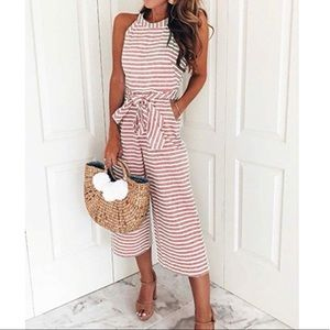 Pants - 🆕 Striped Waisted Belt Wide Leg Jumpsuit: Pink